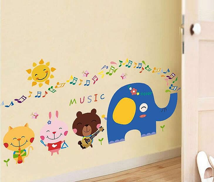 Elephant Music Note Wall Stickers Animals Boys Room Wall Decals - Nursery wall decals ireland