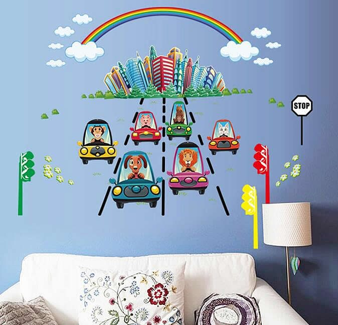 Kids Cars & Rainbow Wall Stickers