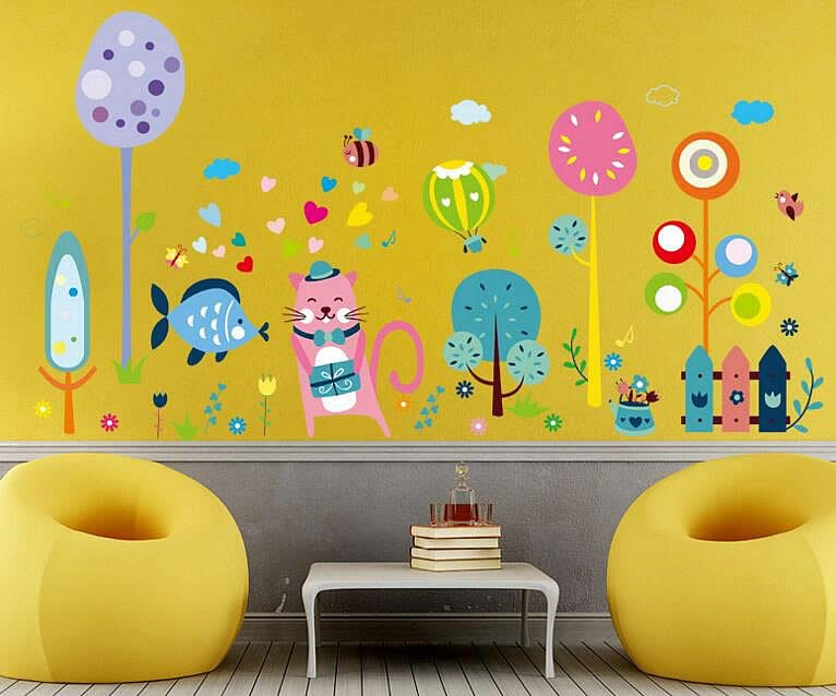 Cat Fish Hot Air Balloon Wall Stickers