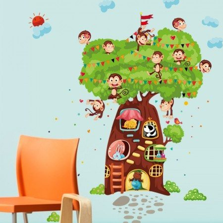 Monkeys Animal Tree Wall Decal
