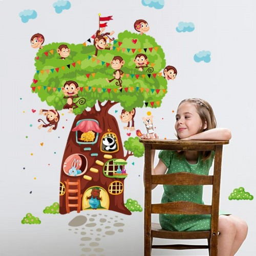 Monkeys Animals Tree wall sticker