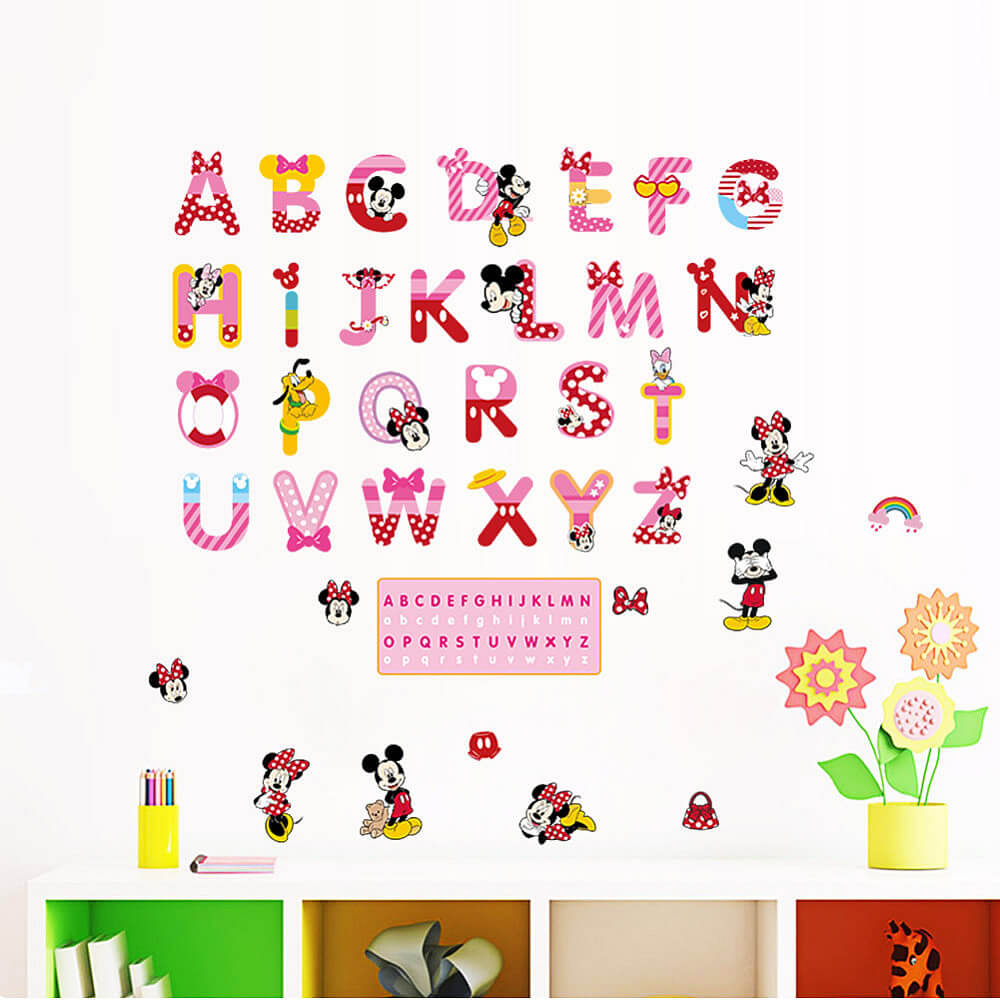 Wall Stickers Alphabets Vinyl Wall Decals For Kids Funny Cute A To Z