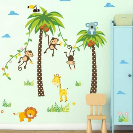 Monkey Tree Animals Wall Stickers