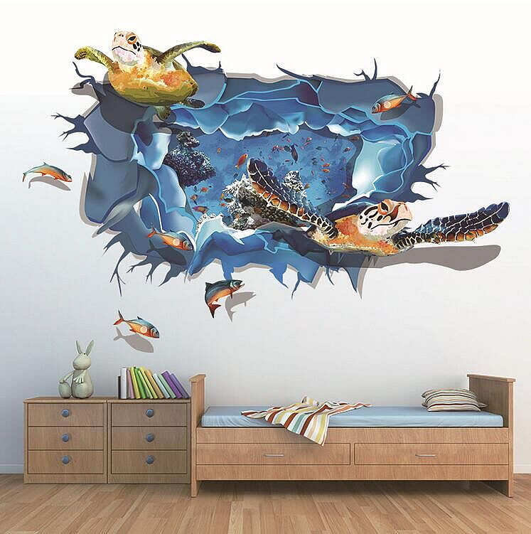 3d Sea Turtle Wall Stickers Wall Decals Wall Stickers
