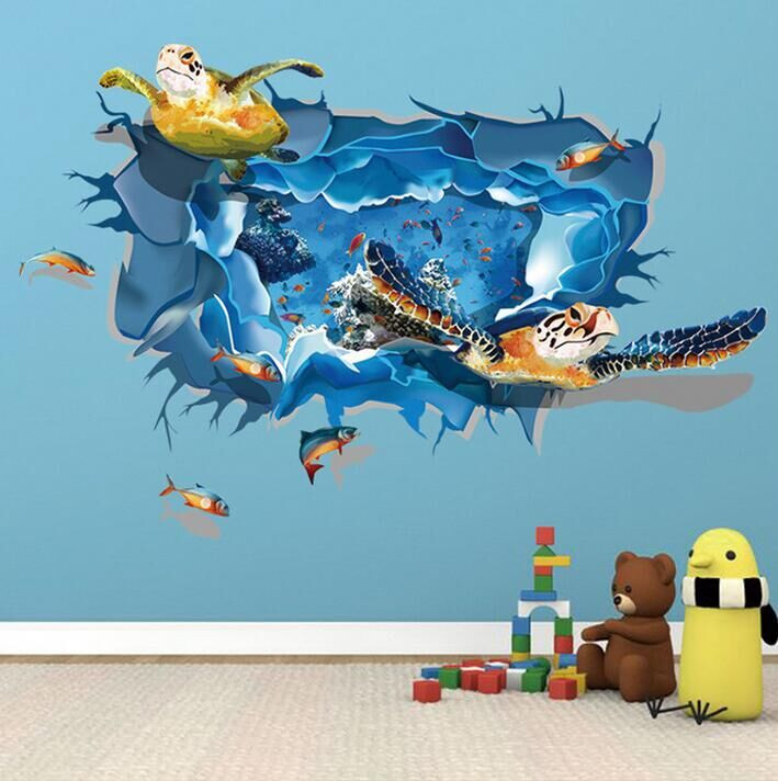 3d Sea Turtle Wall Stickers Wall Decals Wall Stickers For Kids Ireland
