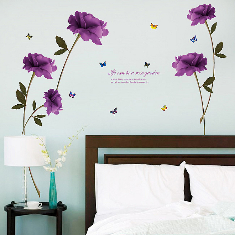 purple rose wall stickers - wall decals™ - wall stickers for kids