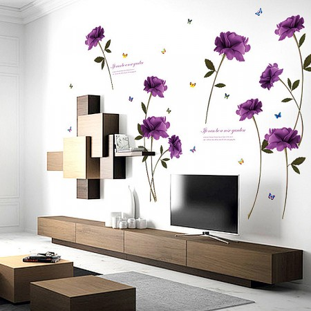 Purple Rose Wall Stickers