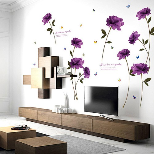 Wall stickers wall decals designer wall art stickers purple rose wall stickers gumiabroncs Gallery