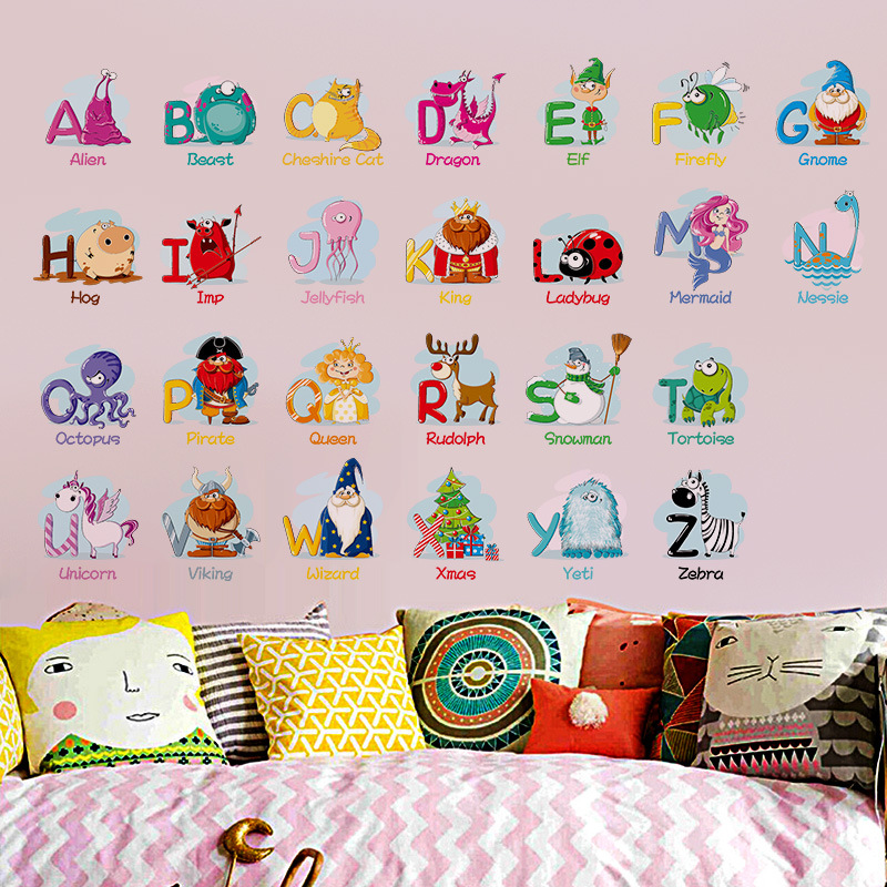 cartoon alphabets a to z educational wall stickers - wall decals