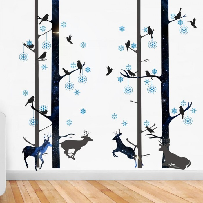 Forest Black Animals Deer Bird Tree Wall Stickers