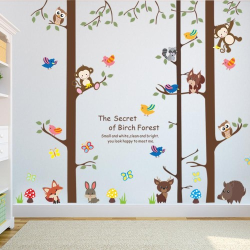 Forest Animals Monkey Rabbit Bird Tree Wall Sticker