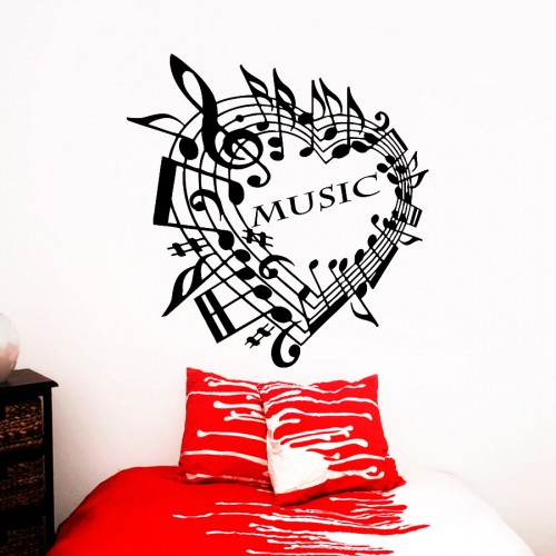 Love heart music note decal