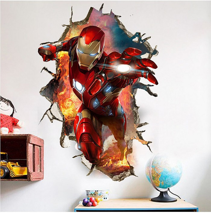 Iron Man 3D effect custom wall stickers