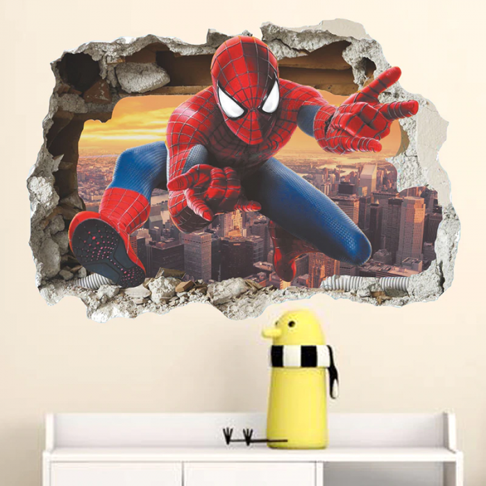 Spiderman 3D effect wall stickers for childrens bedroom