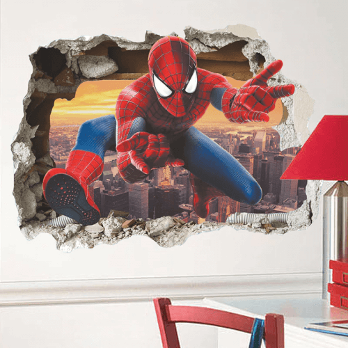 Spiderman wall stickers 3D effect