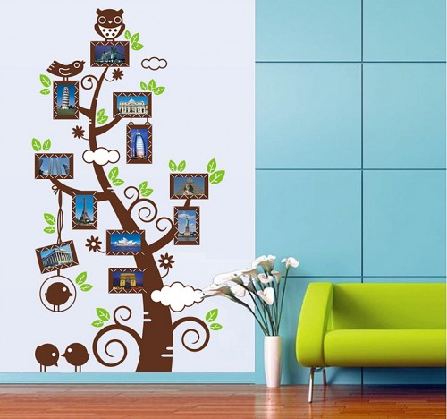 Owl Photo Frame Tree vinyl wall stickers