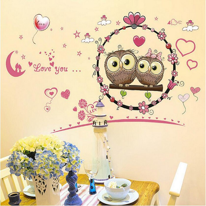 Cute owl couple wall sticker for childrens room
