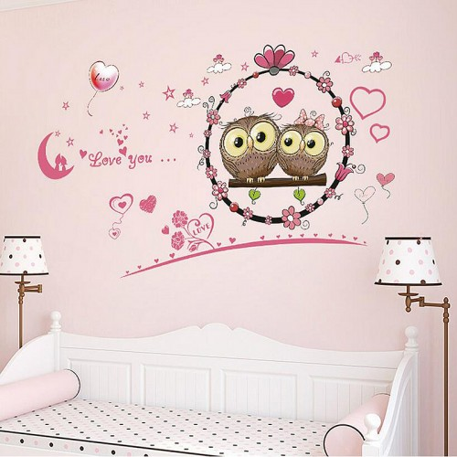 Cute owl couple wall sticker