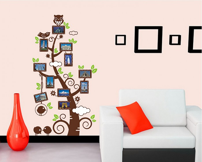 Owl birds photo frame wall stickers