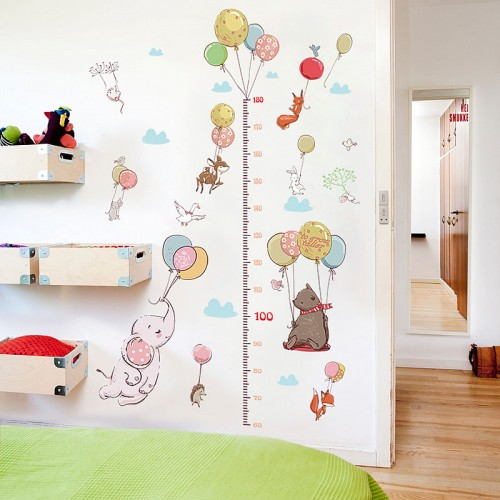 Animals balloons height chart wall sticker