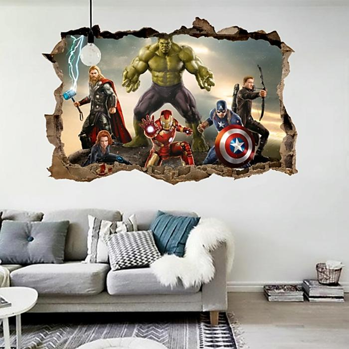 Cartoon Movie Avengers Wall Stickers For Kids Rooms Home Decor 3d Effect Decorative Wall Decals Diy 700x700