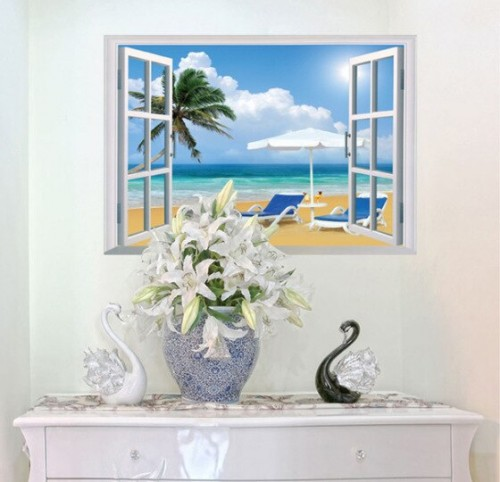 New Beach Harbor Window Wall Sticker Kids Room Background Wall Decals Foreign Trade Bedroom Removable Wall