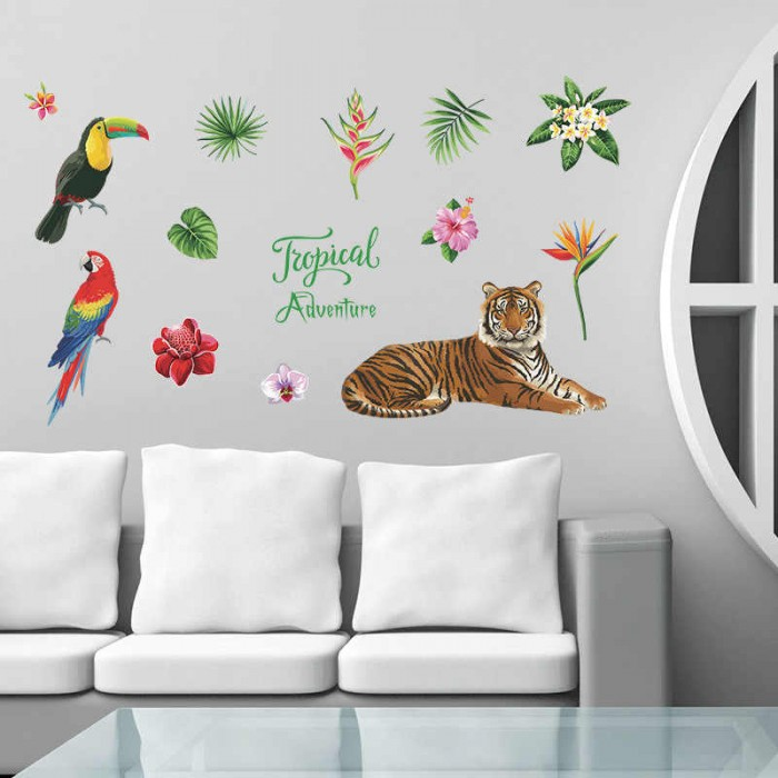 Sk7172 Tropical Jungle Wind Tiger With Parrot Lan Meng Wall Stickers Bedroom Cabinet Living Room Entrance.jpg Q50