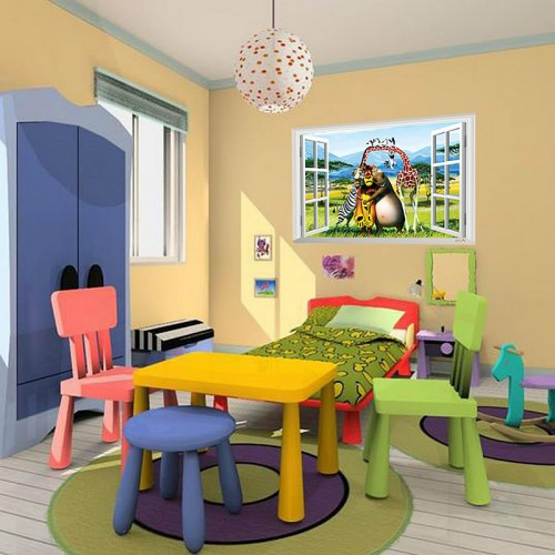3D Window Movie Madagascar Wall Stickers