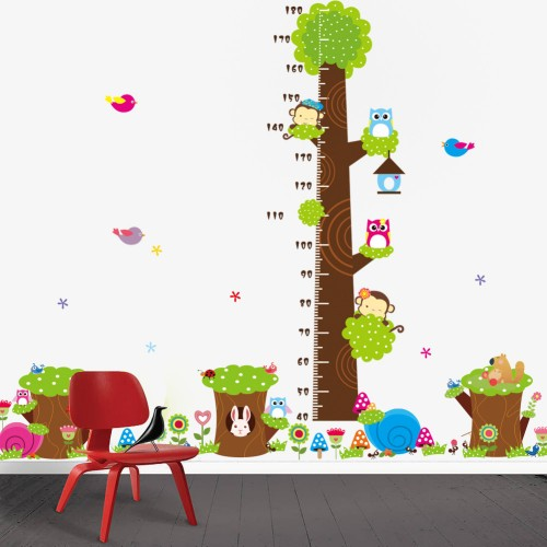 Cute Owl Tree Animals Height Chart Wall Stickers