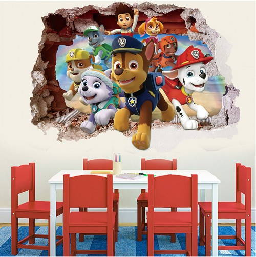 Paw Patrol 3D effect wall sticker for kids