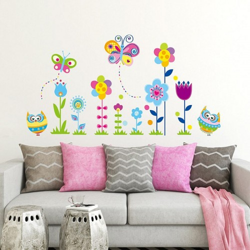 Colorful Owls Butterflies Flowers Wall Stickers